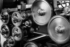 Rouages métalliques usine